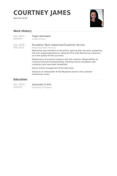 Hôtesse De L'air Exemple de CV - Base de données des CV de VisualCV