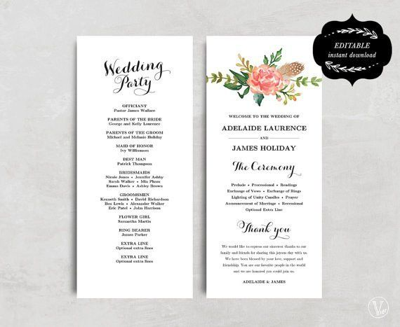 Printable Wedding Program Template, Floral Wedding Program, Boho ...