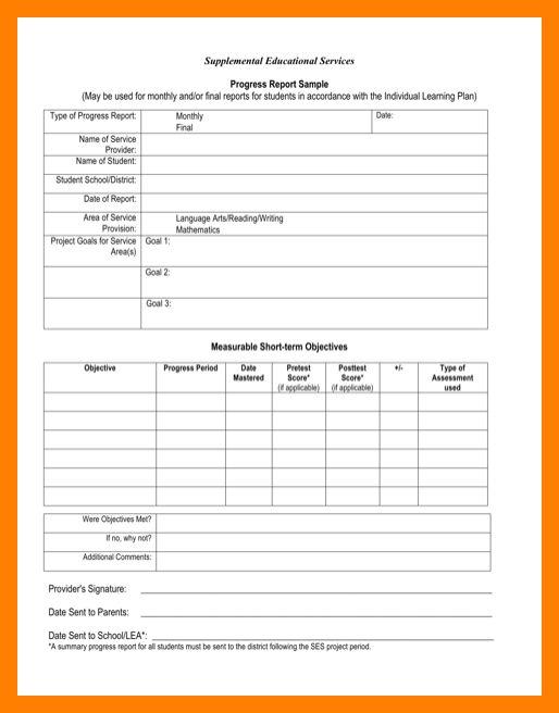 8+ students progress report sample | biology resume