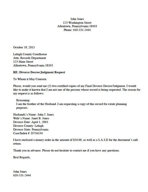 Divorce Source - Divorce Record Request Letter