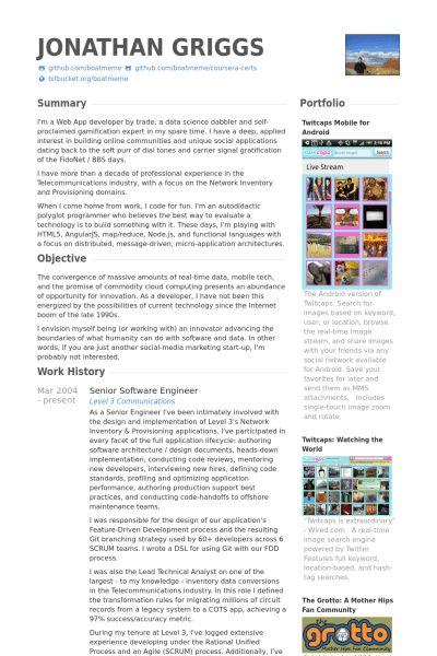 Senior Software Engineer CV Beispiel - VisualCV Lebenslauf Muster ...