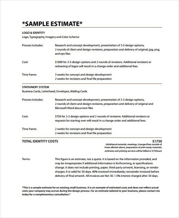 Sample Work Estimate Templates - 7+ Free Documents Download in PDF ...