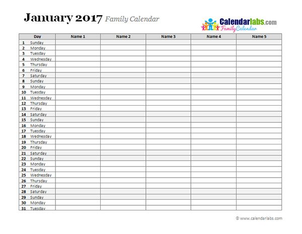 2017 Family Day Planner - Free Printable Templates