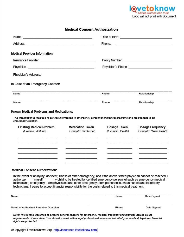 Medical Consent Forms. Medical Consent Form Printable Ms Word ...