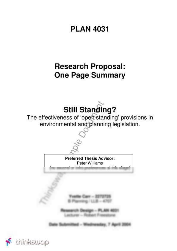 Planning-One Page Thesis Proposal Summary | PLAN4031 - Research ...