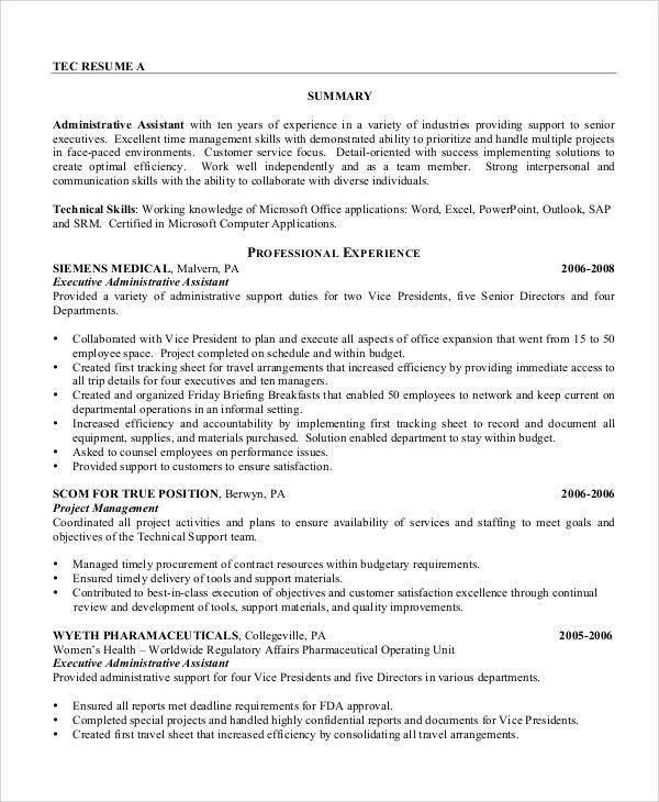 Sample Administrative Assistant Resume   8+ Examples In Word, PDF