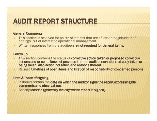 Internal audit report writing