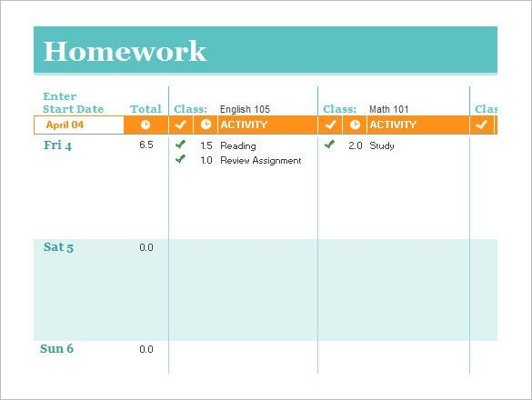 Homework Schedule Template – 8+ Free Word, Excel, PDF Format ...