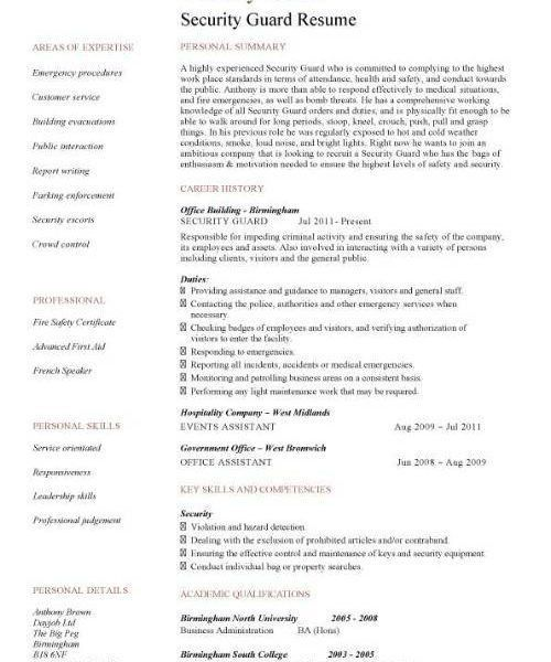 security guard resume objective templatebillybullockus - Security Guard Resume Sample