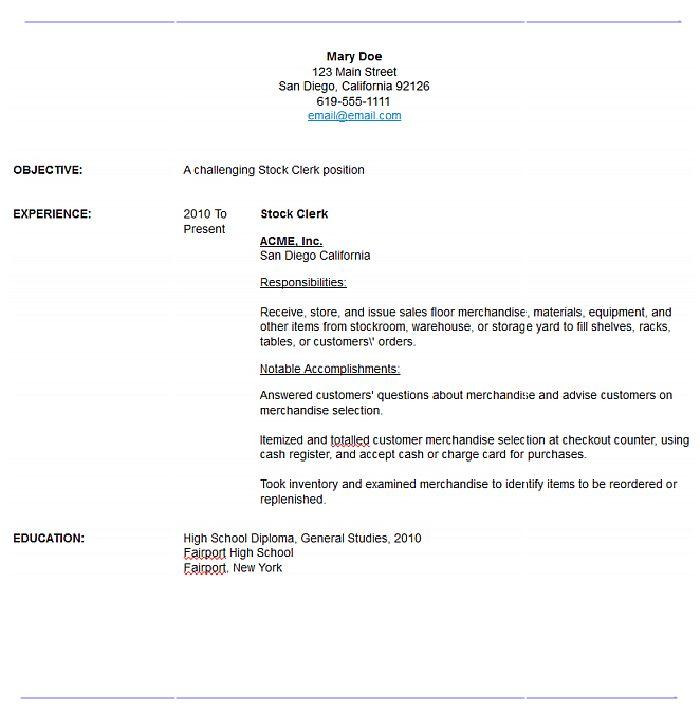 Resume Stock Clerk. job resume examples and samples resume format ...