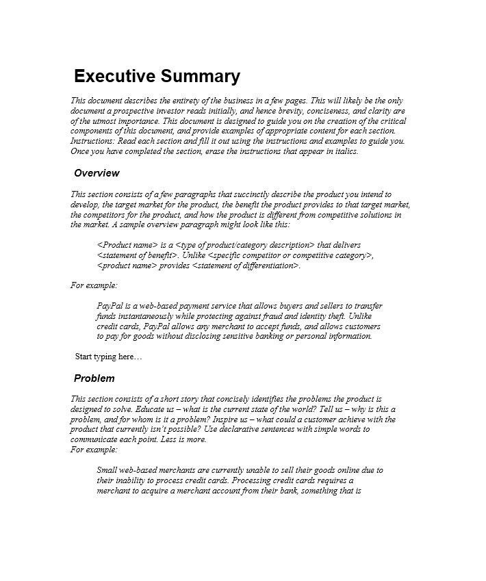 Executive Summary Template - Contegri.com