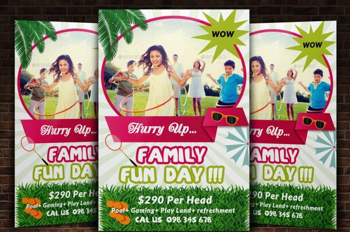 Family Fun Day Flyer Templates by Designhub | TheHungryJPEG.com
