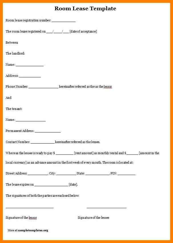Room Rental Agreement Template Free - Template Examples