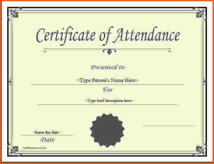 5 certificate of attendance template | Survey Template Words