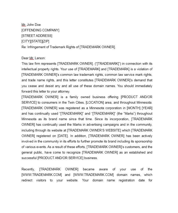 cease and desist letter trademark infringement | Docoments Ojazlink