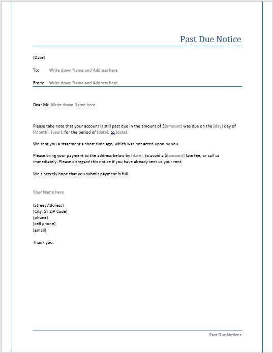 Past Due Notice Template – Microsoft Word Templates