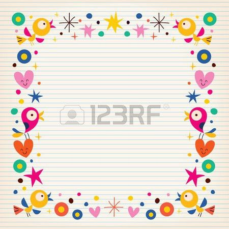 Birds Hearts Happy Border On Lined Paper Background Royalty Free ...