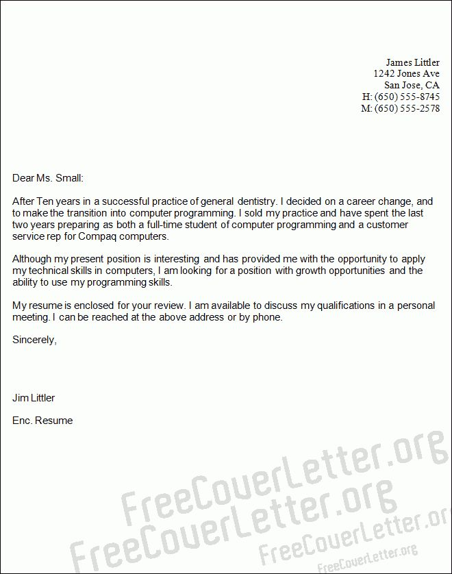 Programming Cover Letter Sample