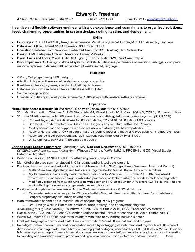Resume of Edward P Freedman June 12 2015