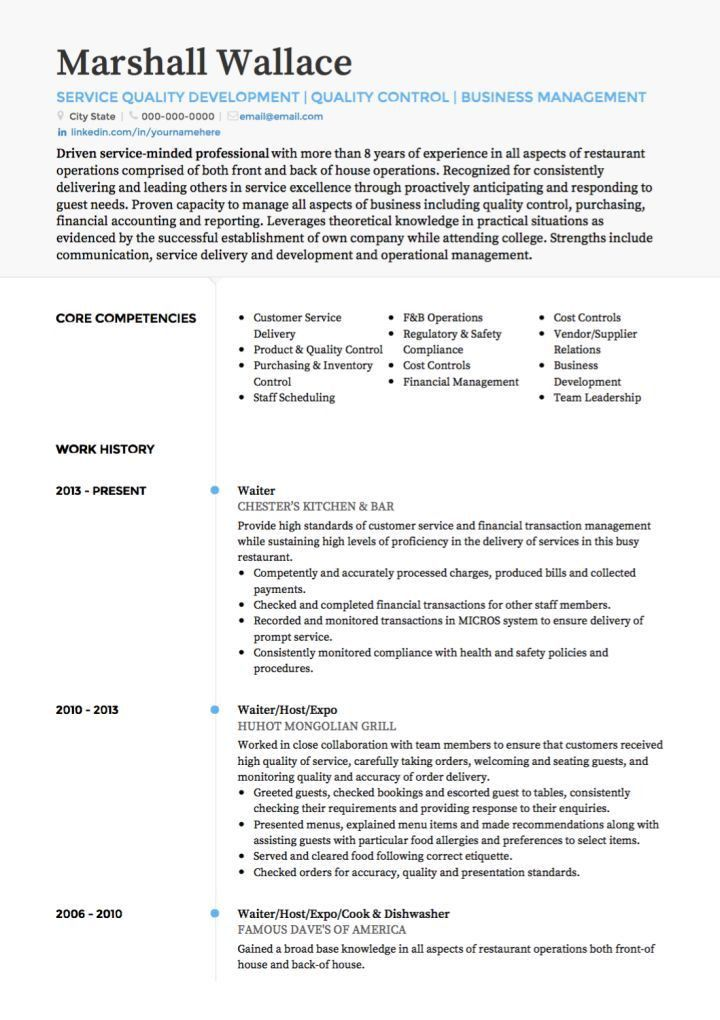 Waitress Resume Sample 8 Combination Waitress Combination ...