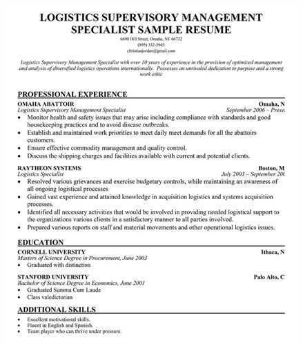 Superb Logistics Management Plan Template In Logistics Management Specialist Resume