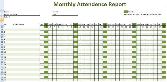 Cool Monthly Class Attendance Sheet Template in MS Excel Format ...