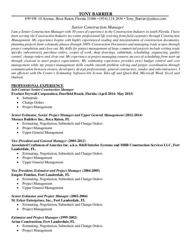 Tony Barrier Resume 7.7.2015