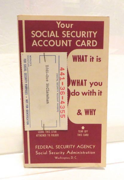 Rue's Original Social Security Card Stub with Pamphlet – Stub from ...