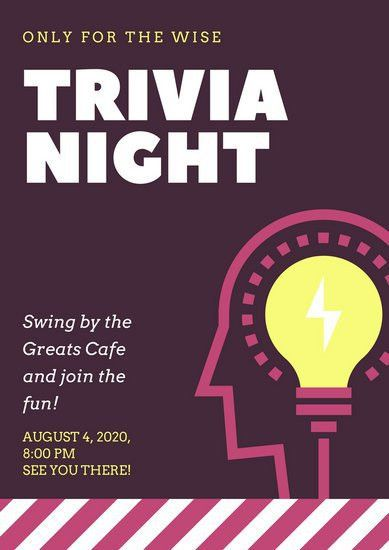 Trivia Night Poster Template. customizable design templates for ...