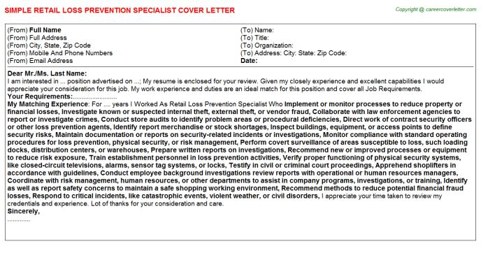 Retail Loss Prevention Specialist Cover Letter