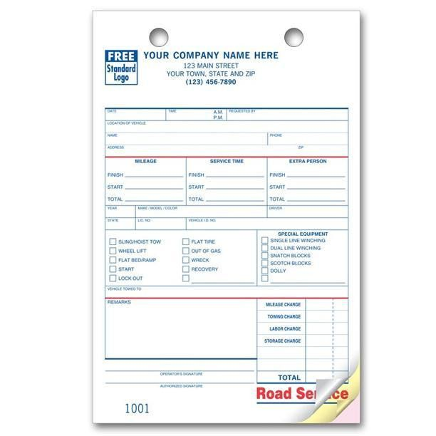 Towing Invoice - Roadside Service Forms | DesignsnPrint