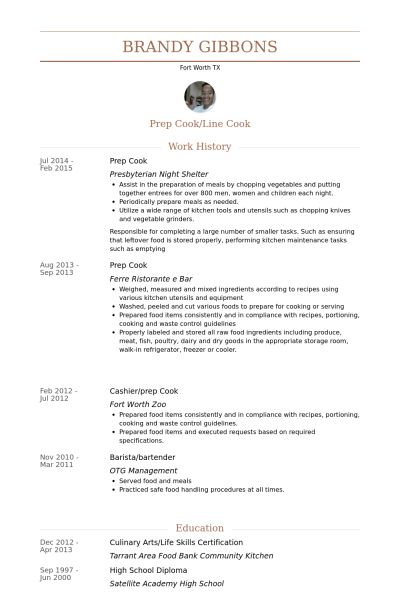 example of cook resumes