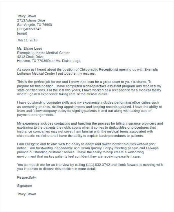 Chiropractic Assistant Cover Letter For