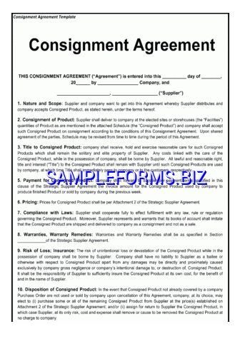 Consignment Agreement Template & samples forms