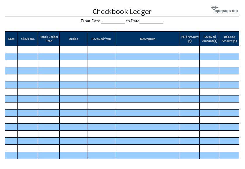 Checkbook Ledger - Cheque book Ledger : Accounts