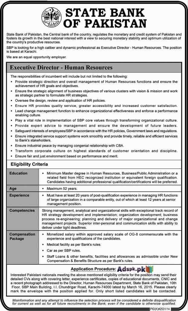 Jobs Open in State Bank of Pakistan for Executive Director Human ...