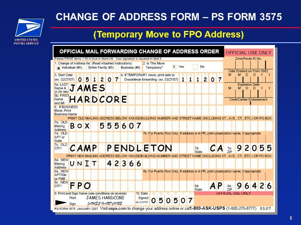 Temporary Change of Address Cards PS Form 3575 (Military COA ...