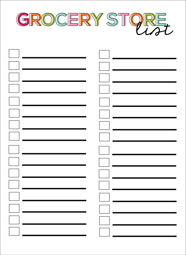 Here's a great template to use to plan your grocery shopping list ...