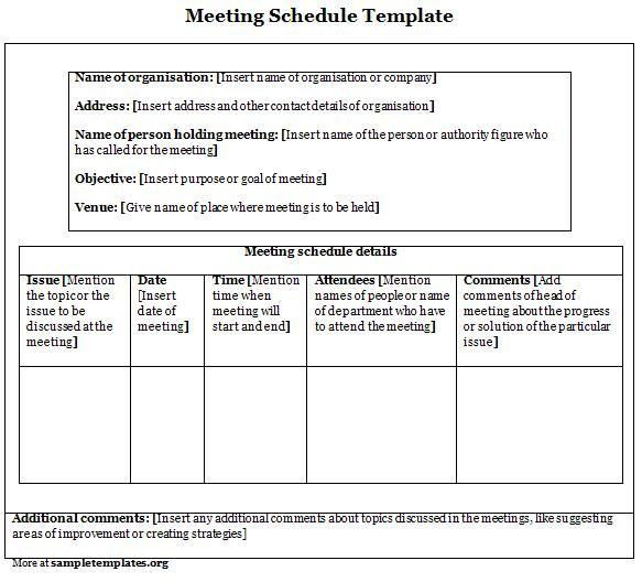 Schedule Template for Meeting, Example of Meeting Schedule ...