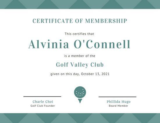 Green Golf Ball Membership Certificate - Templates by Canva