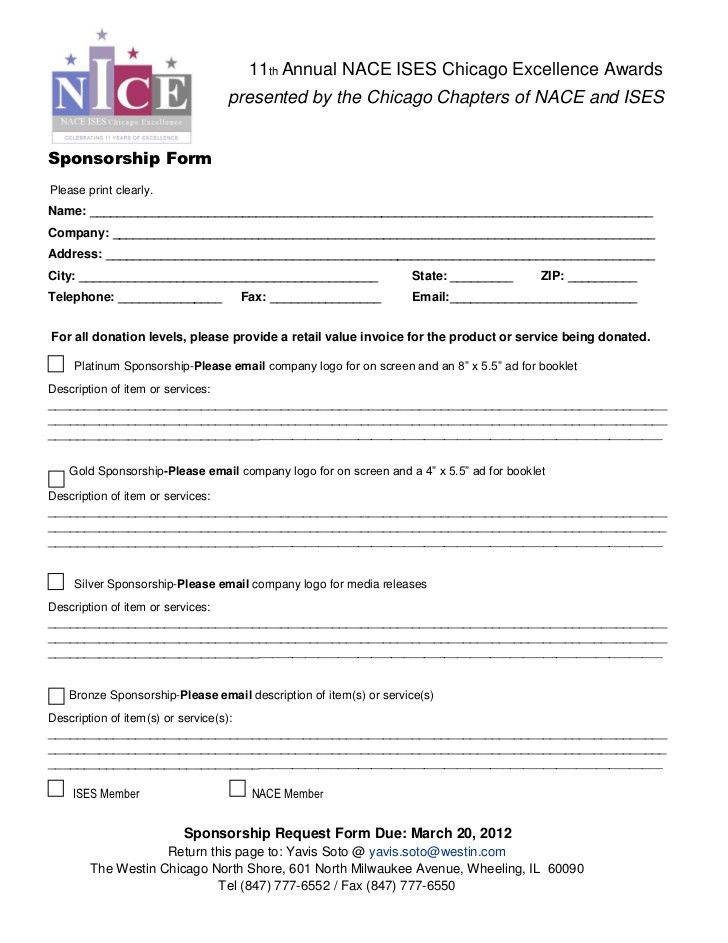 NICE Awards Sponsorship Form