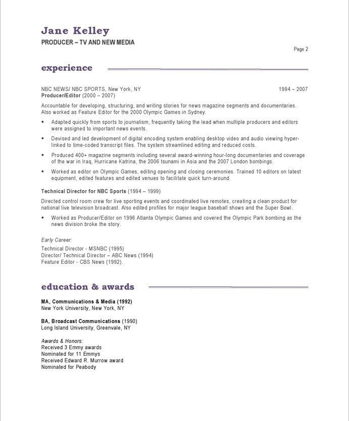 TV / New Media Producer Resume Samples & Examples