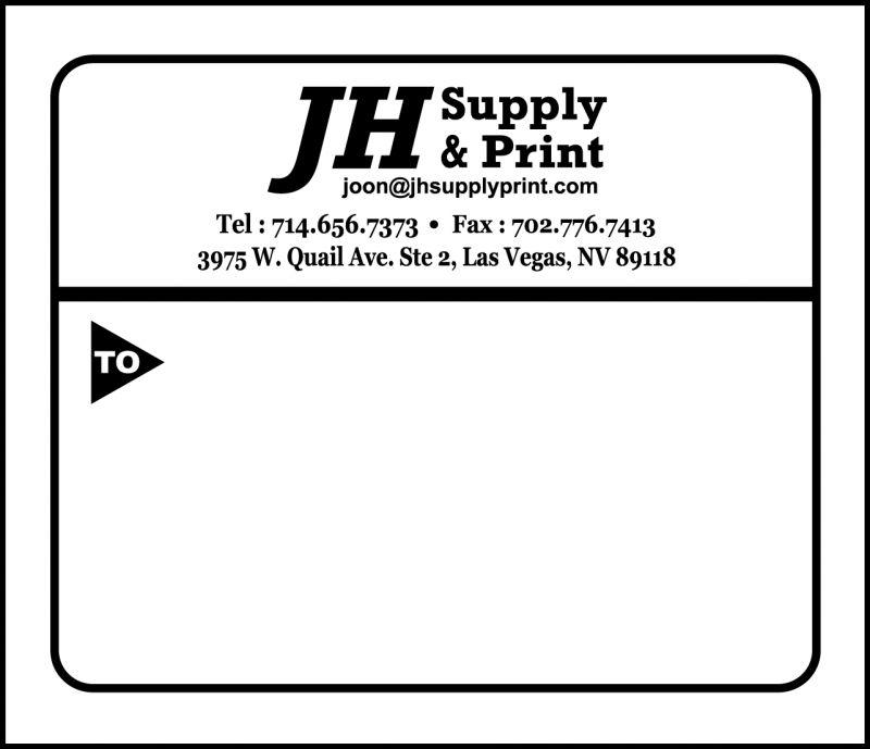 JH Supply & Print - Sample Shipping Labels