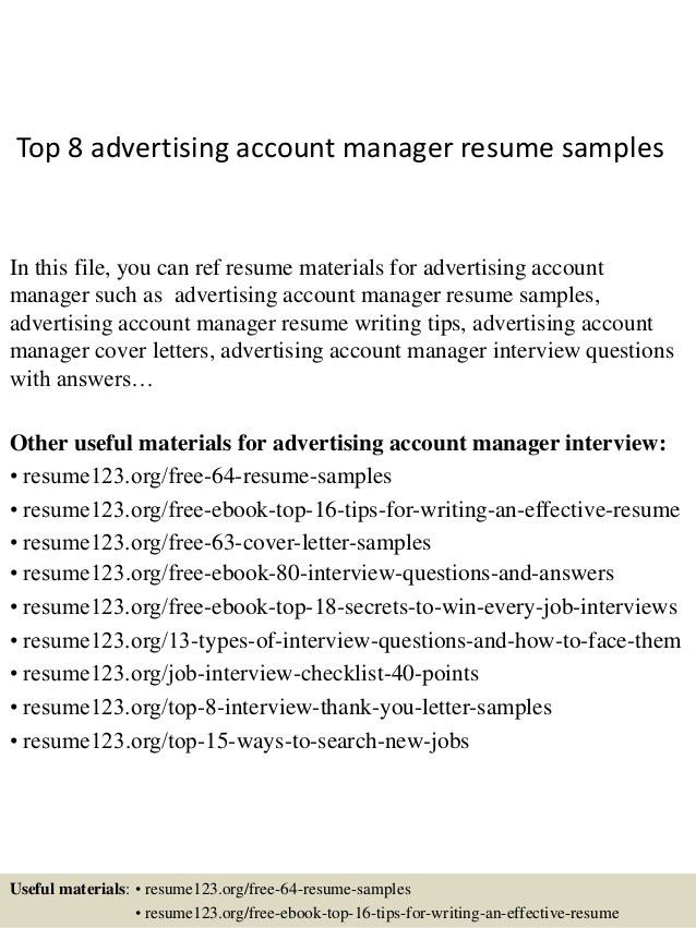 top 8 advertising account manager resume samples in this file you ...