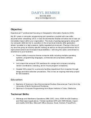 gis technician resume samples. resume format for gis job best ...