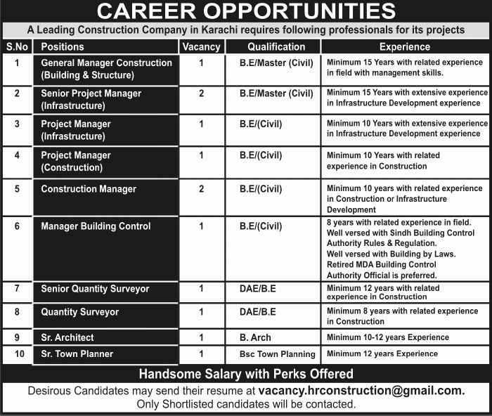 Construction Company Jobs in Karachi May 2016 Civil Engineers ...