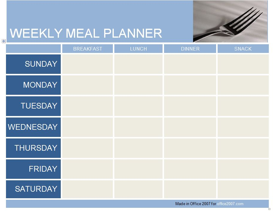 Meal Planner Template | cyberuse