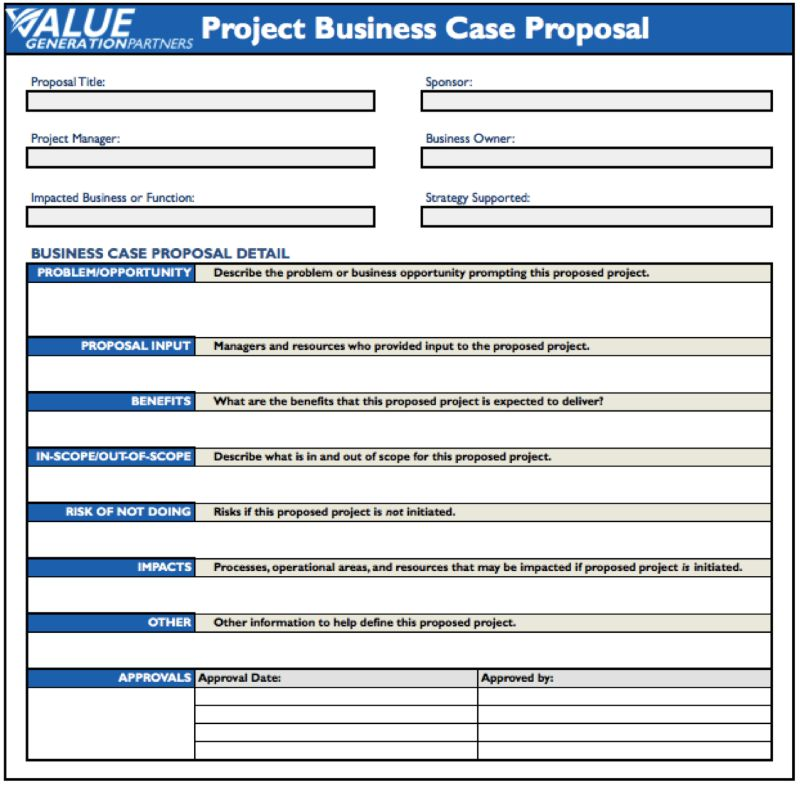 Generating Value by Using a Project Business Case Proposal | Rod ...