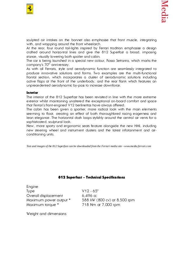 Ferrari 812 Superfast - Press Release