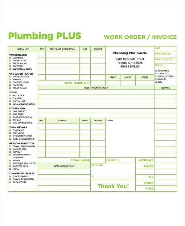 6 Plumbing Invoice - Examples in Word, PDF
